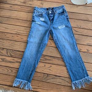 Fringed bottom jeans
